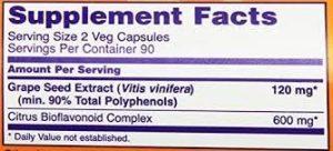 Grape Seed Extract - etykieta
